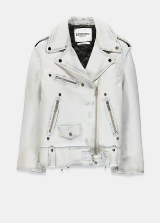 Off-white side lace-up leather biker jacket - Essentiel Antwerp - EU store