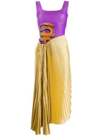 Marine Serre Asymmetric Pleated Dress   Farfetch.com