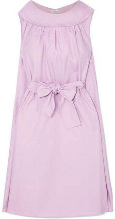 Bow-detailed Cotton Midi Dress - Purple