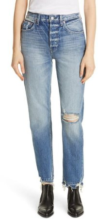 Constance High Waist Ripped Straight Leg Jeans