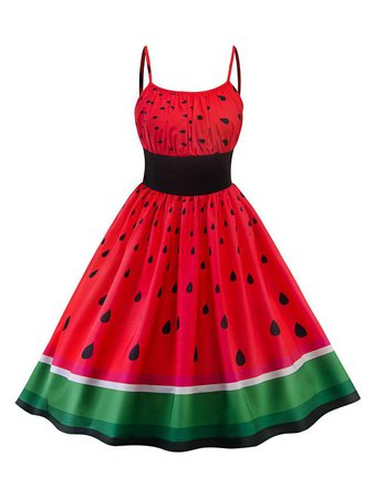Red 1950s Watermelon Patchwork Dress - Retro Stage - Chic Vintage Dresses and Accessories