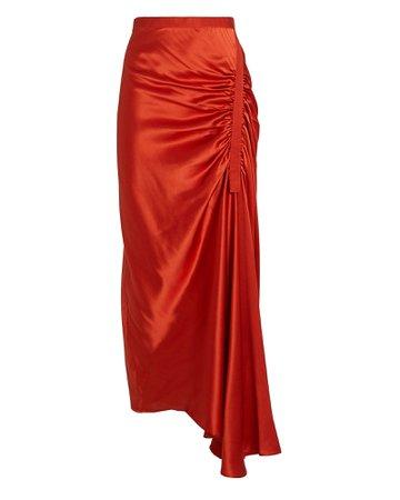 Christopher Esber   Gathered Silk Midi Skirt   INTERMIX®