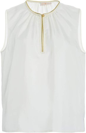 Tory Burch Shirred Shell Ruffled Georgette Top