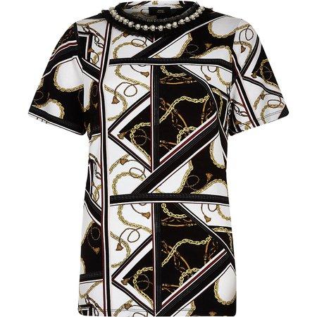 White chain print embellished neck T-shirt - T-Shirts - Tops - women