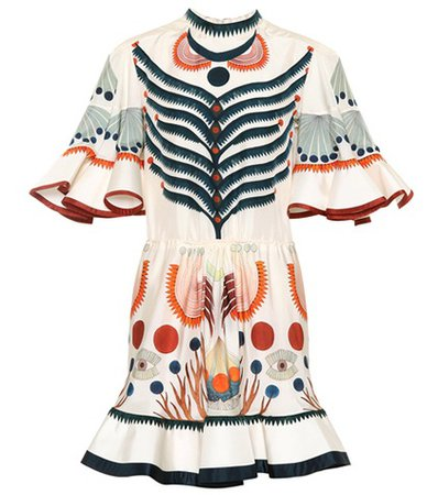 Printed silk minidress