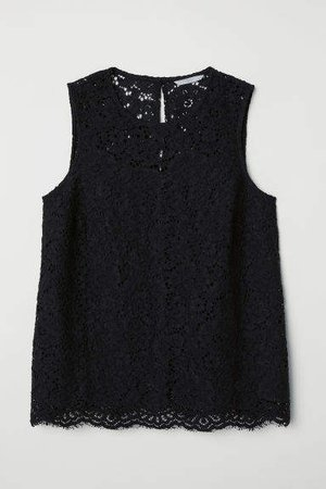 Sleeveless Lace Top - Black