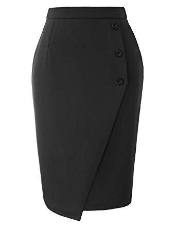 Grace Karin High Waist Button Midi Pencil Skirt
