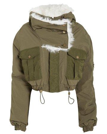 Fur-Trimmed Bomber Jacket