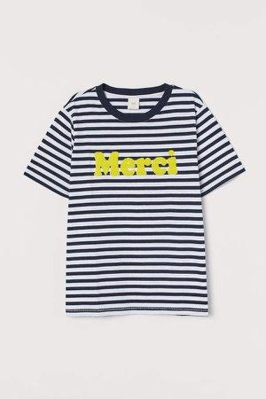 Appliqued T-shirt - Blue