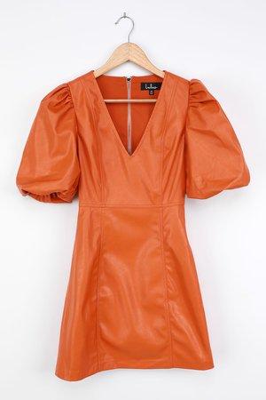 Vegan Leather Dress - Orange Vegan Leather Dress - Mini Dress - Lulus