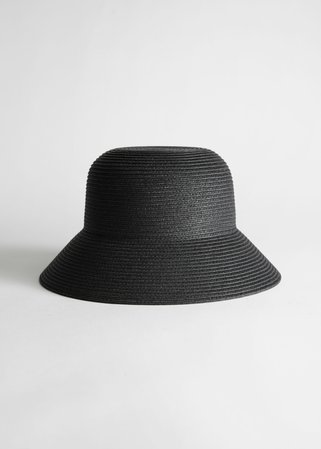 Structured Straw Bucket Hat - Black - Hats - & Other Stories