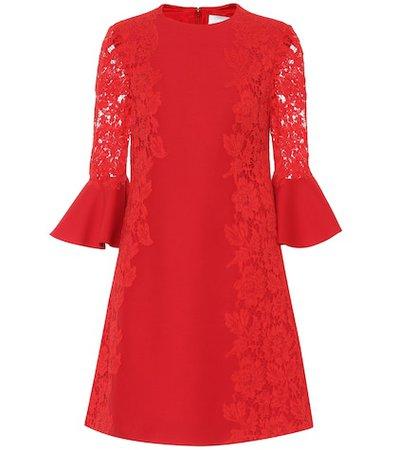 Lace-trimmed cotton-blend minidress