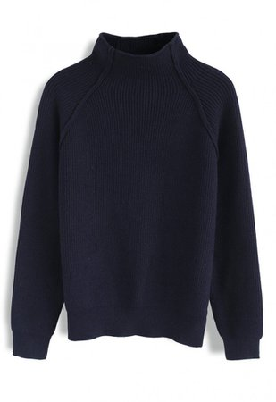 Heart and Soul Patched Knit Sweater in Navy - TOPS - Retro, Indie and Unique Fashion