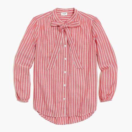 Long-sleeve bow blouse