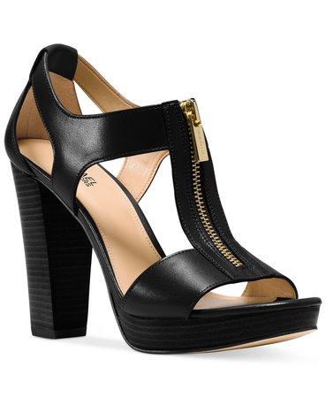 Michael Kors Berkley T-Strap Platform Dress Sandals & Reviews - Heels & Pumps - Shoes - Macy's black