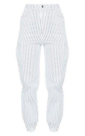 White Pinstripe Pocket Detail Cargo Trousers   PrettyLittleThing