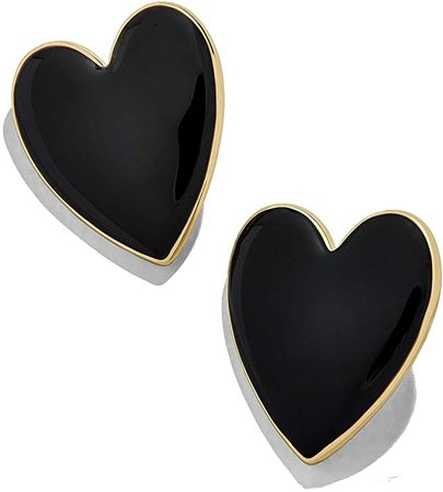 Amazon.com: Heart Stud Earrings for Women - Romance Enamel Big Statement Earring for Girls Jewelry, Idea Gifts for Mom, Lover and Friends (Black): Jewelry