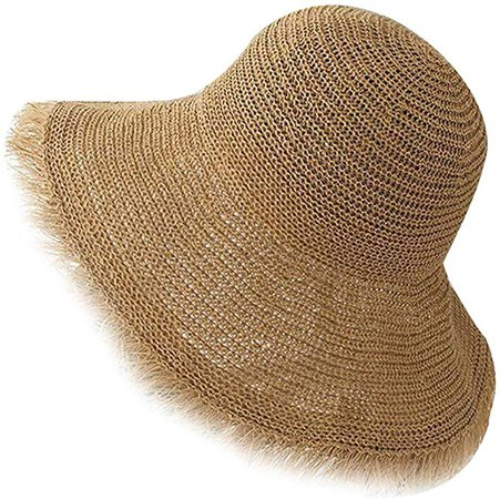 Urban CoCo Women's Wide Brim Caps Foldable Summer Beach Sun Straw Hats (#5 Khaki) at Amazon Women's Clothing store