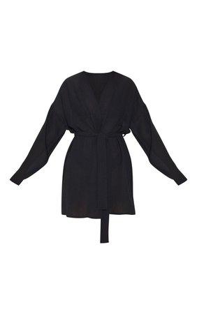 Black Crinkle Textured Short Beach Kimono | PrettyLittleThing