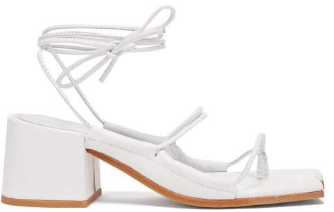 Marques'almeida - Wraparound Ankle Strap Block Heel Leather Sandals - Womens - White