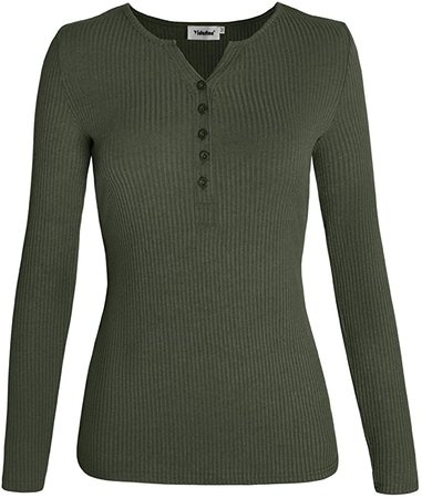 Yidarton Women Henley Shirts Long Sleeve Casual V Neck Button Tops Elasticity Knit Slim at Amazon Women's Clothing store