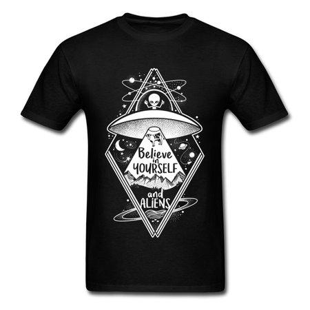 Black UFO Alien T shirt Men Believe In Yourself And Aliens Tops Tees Summer Hip Hop Tshirt Cartoon T Shirts Fun Clothes|T-Shirts| - AliExpress