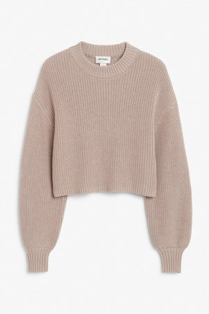 Crop knit sweater - Taupe - Jumpers - Monki WW