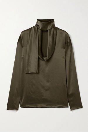 TOM FORD, Draped silk-satin blouse