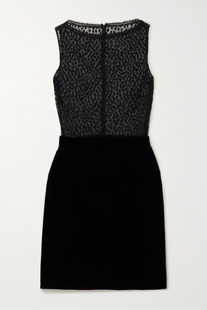 Black Cotton-blend lace and velvet mini dress | Givenchy | NET-A-PORTER