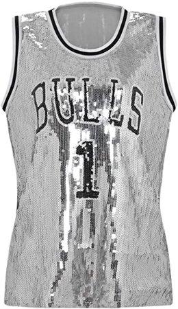 Amazon.com: Howriis Women's Black Sequins Basketball Tank Vest (One Size, Black): Clothing
