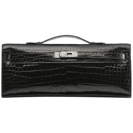 Hermès Kelly Shiny Porosus Crocodile with Diamonds Black Clutch For Sale at 1stdibs