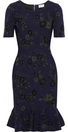 Fluted Floral-jacquard Dress