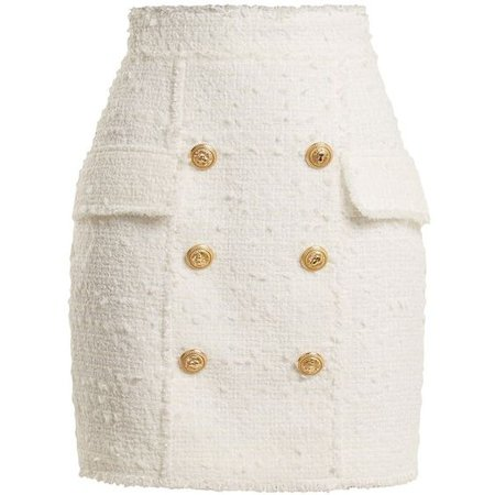 Balmain Button-embellished tweed mini skirt
