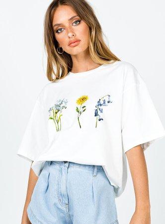 Flower Me Tee White