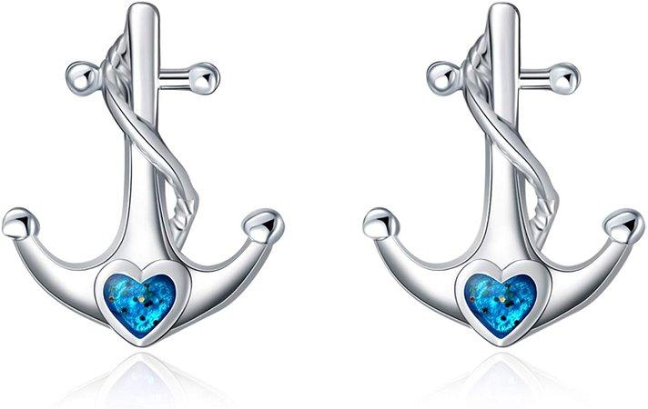 Amazon.com: YFN Sterling Silver Anchor Earrings Nautical Jewelry for Women Girls (Blue Earrings): Clothing