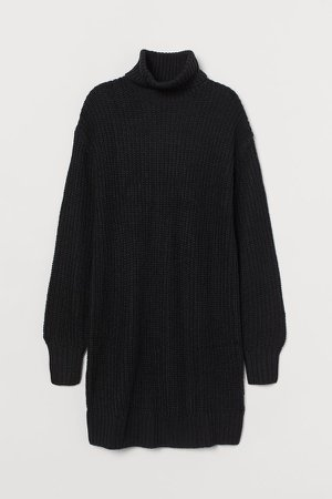 Knit Turtleneck Dress - Black