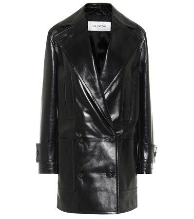Valentino - Double-breasted leather coat   Mytheresa