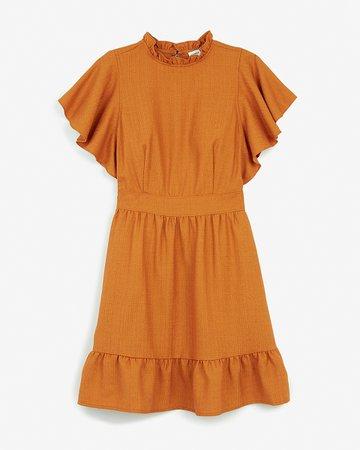 Ladygang Ruffle Neck Flutter Sleeve Dress | Express