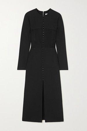 Off-the-shoulder Paneled Stretch-crepe Midi Dress - Black