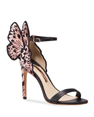 Sophia Webster Chiara Embroidered Butterfly Satin Sandals   Neiman Marcus