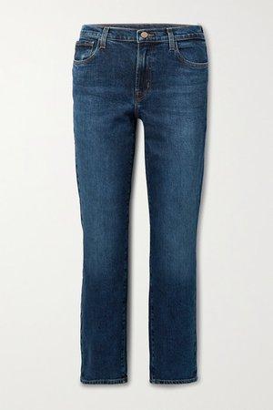 Adele Mid-rise Straight-leg Jeans - Dark denim