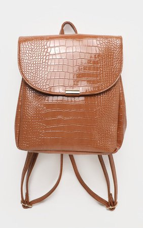 Tan Patent Croc Pu Large Backpack | PrettyLittleThing USA