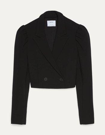 Cropped blazer with puff sleeves - Blazers - Bershka Denmark