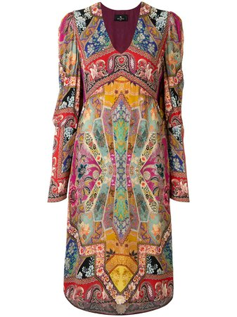 Shop multicolour Etro patchwork-print midi dress with Express Delivery - Farfetch
