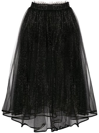 Shop black Elisabetta Franchi glitter tulle skirt with Express Delivery - Farfetch