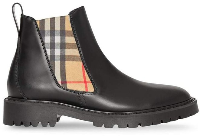 Vintage Check Detail Leather Chelsea Boots