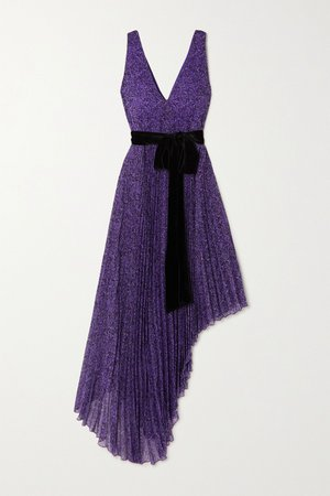 Purple Aiden asymmetric velvet-trimmed printed georgette dress | Alice + Olivia | NET-A-PORTER