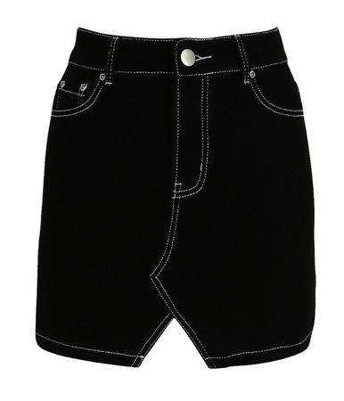 Denim Skirt Contrast Pipelined