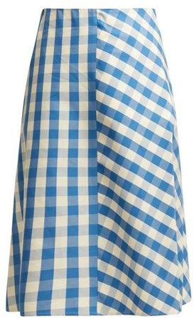 Giara Gingham Cotton Midi Skirt - Womens - Blue White
