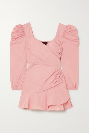 Wrap-effect Taffeta Mini Dress - Baby pink